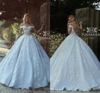 Wholesale most popular wedding dresses - 2018 Most Popular Off the Shoulder A-Line Wedding Dresses Gorgeous Lace Appliques Tiered Skirts Wedding Bridal Gowns
