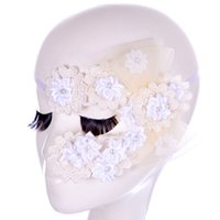 máscaras de meio olho venda por atacado-Sexy Flores Rendas Máscaras Do Partido Meninas Mascarado Máscara Venetian Metade Máscara Facial Natal Halloween Máscaras de Olho Cosplay Frete Grátis WX-M15