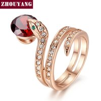 Wholesale rose gold color beads - ZHOUYANG Top Quality ZYR150 Snake Show Bead Ring Rose Gold Color Austrian Crystals Full Sizes Wholesale