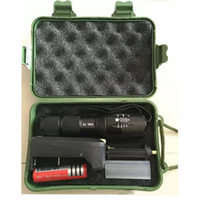 batteriekasten camping großhandel-XML T6 LED Tauchen Taschenlampen wasserdichte LED Lampe Licht Taschenlampe mit 18650 Ladegerät Geschenkbox