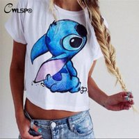Wholesale Lilo Stitch Shirt Women - Wholesale-New 3D Lilo & Stitch print Cotton T shirt Crop top Cartoon Women Cute camiseta short sleeve Loose women tops Plus size QL1666