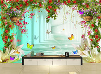 Wholesale Japan Tv Home - 3D wall murals wallpaper custom picture mural wall paper Dream heart-shaped flowers cluster studio wedding TV background wall home decor