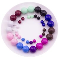 Wholesale Candy Color Ball Stud Earrings - 2017 new arrival candy color 14mm double sided pearl earrings for women double stud earrings double balls earrings for girls