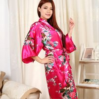 Großhandel- 2016 neue Silk Kimono Robe Bademantel Frauen rote Seide Brautjungfer Robes Sexy Navy Blue Robes Satin Robe lange Damen Dressing Gowns