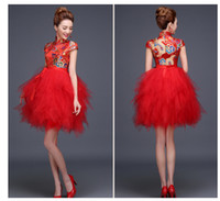 Wholesale Sexy Cheongsam Skirts - 2106 new explosion of hot summer clothing dress bride toast short cheongsam female red skirt slim dress red