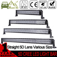 Wholesale 4x4 Atv - XuanBa 5D 52 Inch 500W CREE LED Light Bar For 4x4 OffRoad Trucks Tractor SUV ATV 4WD 12V 24V Combo 400W Led Work Driving Off Road Bar Lights