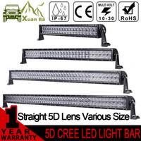 barra de luz led led conduciendo al por mayor-XuanBa 5D 52 pulgadas 500W CREE barra de luces LED para 4x4 OffRoad camiones Tractor SUV ATV 4WD 12V 24V Combo 400W Led trabajo de conducción Off Road luces de la barra