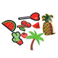 ingrosso frutto dell'albero del fumetto-2017 Stripe Patch 8 Pz Misti Ferro Sulle Zone Per I Vestiti Patch Cartoon Party Motif Badges Albero Albero Vestiti FAI DA TE Ornamenti