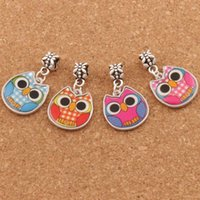 Wholesale Owl Charms Enamel - Two-Sided Enamel Cute Owl Big Hole Beads 60pcs lot 4Colors Fit European Charm Bracelets Jewelry DIY B1557 18.8x31.5mm