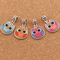 Wholesale enamel animal bracelets - Two Sided Enamel Cute Owl Big Hole Beads Colors Fit European Charm Bracelets Jewelry DIY B1557 x31 mm