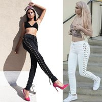 2017Competitive Knicker Side Bandage Jeans Donna Bound Feet Pants Pantaloni autocoltivanti Europe Station Trendsetter Autumn And Women