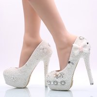 Wholesale round toed bridal shoes women for sale - Group buy 2019 Handmade Women High Heel Shoes White Pearl Wedding Party Shoes with Bowtie Nightclub Rhinestone Prom Pumps Bridal Shoes