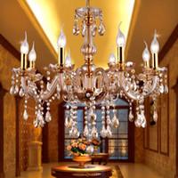 amber kristal avize aydınlatma toptan satış-Modern Amber Kristal Avizeler Aydınlatma Asılı Işıklar Çağdaş Cristal Cam Avize Işık Ev Otel Restoran Dekoru
