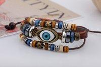 Wholesale Men S Blue Bracelet - Eye Korean version fashion Men Handmade cowhide bracelet Beaded jewelry Blue Eyes Handmade Men 's Leather Bracelet