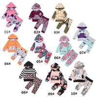 Wholesale Coloured Hoodies - Over 10 styles Christmas Outfits Baby Boy Girl Clothes Newborn Fashion Cartoon Floral Hoodies Sets kids Long Sleeve Clothing 0-24M