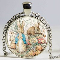Wholesale Love Cartoon Painting - New Peter Rabit Logo Pendant Necklace Cartoon Painting Round Handmade Vintage Necklace Women Jewerly Friend Gift
