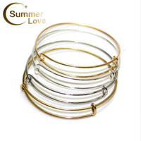 Wholesale Usa Cables - Hot Sale USA Cable Bangle Jewelry Expandable Wire Bracelets Bangles Women Jewelry DIY 10 Pcs Lot High Quality Wholesale