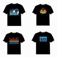 Wholesale Iron T Shirt Men - t shirts Led T Shirt Sound Control Iron Man Fashion Creative LED Custom Music Flash Clothing Spectrum Dancer Activated Visualizer