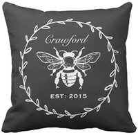 """Wholesale Vintage Honeycomb - Vintage Black Honey Bee Laurel Honeycomb Monogram Throw Pillow Case, Squar Sofa Cushions Cover, """"16inch 18inch 20inch"""", Pack of X"""
