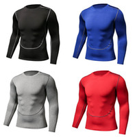 Wholesale tights long sleeve tees - Men Sportwear Five colors Men Sports Slim Quick-drying breathable elastic tights Long Sleeve T-shirts Casual tees training tops