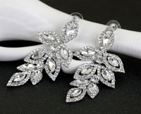 Full Rhinestone Long Leaf Earring Crystal Leaves Dangle Casamento Jóias Mulheres Prom Party Studs Earrings Top Quality Engagement Gift