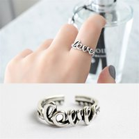 New Vintage Love Rings For Women Retro Puro 925 Sterling Silver Twist Open Size Anel de punho ajustável Fine Jewelry