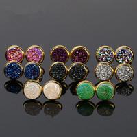 Wholesale Rainbow Druzy - Fashion Women Oval Stud Earrings Rainbow Druzy Stud Earrings Women Jewelry Oval Druzy Stud Earring Drusy Quartz Earrings