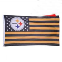 futebol da faculdade eua venda por atacado-90 * 150 cm EUA Listras de Futebol Pittsburgh Esportes Ao Ar Livre Indoor Bandeira EUA Hóquei College Baseball Baseketball Bandeira Bandeira Bandeiras