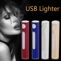 Wholesale electronics gadgets wholesale - Hot Sale Metal Shell Portable Electronic USB Lighter Rechargeable Flameless Windproof Lighter Smoking Gadgets Gift