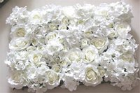 Wholesale Ivory Wedding Backdrops - Wholesale-Free Shipping 10pcs lot IVORY Artificial hydrangea rose flower wall wedding backdrop lawn pillar flower road lead decoration
