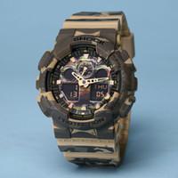 Wholesale Led Light Belt Buckle - All pointer work GA100 Men sports watches LED light watch running hiking digital 100 watches no box