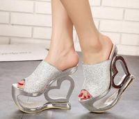 Wholesale European Fashion Girls Sandals - Wholesale-5-free shipping 2015 European pop adult shoes women platform slides sandals girls fashion heart heel summer heels gold bronze