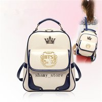 Wholesale K Pop Fashion - Woman Fashion BTS Bangtan Boys K-Pop Infinite EXO school Backpacks girl Small PU Style shoulder bags