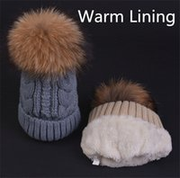 Wholesale Genuine Raccoon - Women Ladies Lined Cable Knitted Winter Hat With 15cm Genuine Raccoon Fur Pom&Warm Plush Lining 6 Colors UPS TNT Free Shipping(CX16444)