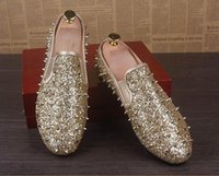 Wholesale Personalized Wedding Shoes - 2017 New Personalized Men Gold Casual Shoes Fashion Tide Men Rivets Glitter Round Toe Slip On Loafer Shoes Lazy Black Flat Z40