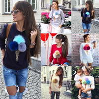 Wholesale Drape Neck Sweater - 2016 Hot 7 Colors Cute ice cream plush ball Sweater Autumn and Winter basic Women Sexy Casual Long-sleeved Shirt Tops