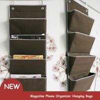 Wholesale Hang Phone Hanger - New oxford Fabric Bedside Pocket Storage bag hanger rack Magazine Phone Organizer Hanging Bags Door Closet Hanger Book Holder