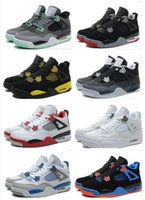 Wholesale Denim Down - New Retro 4 IV Eminem Basketball Shoes For Men Black Denim Undefeated Encore Blue Olive Green Mens Sneakers Version 41-47
