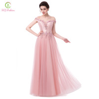 Wholesale Elegant Luxury Embroidery - SSYFashion New Luxury Evening Dress Pink Satin with Tulle Boat Neck Lace Flower Long Prom Dress Bride Banquet Elegant Party Gown