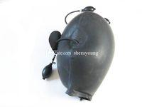Wholesale inflatable bondage gag online - BDSM Adult Sex Toys for Women Inflatable Latex Head Hoods Mask Bondage Gear Restraints Ball Gag Products Black