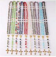 Wholesale Catholic Mary Necklace - NEW Catholic Saint Virgin Mary Rosary Sparkling Mystery Crystal Beads Necklace Jesus Crucifix Cross Pendant
