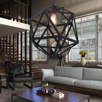 kafes farları toptan satış-Endüstriyel Edison Asılı duvar ışık yemek odası led lambalar minimalist Kolye Lambaları Büyük Boy Art Deco Kafes Lamba Guard Metal