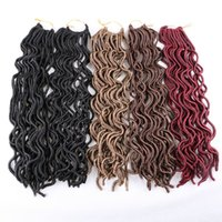 Wholesale Bulk Braiding Hair Curly - Synthetic Faux Locs Brading Hair Crochet Braids Twist Curly 18inch 24strands Bulk Synthetic Hair Extensons more colors