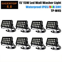Hi-Quality 8Pcs / Lot 15 * 15W Tricolor Led Wall Washer Light Outdoor impermeável Led Washer Light RGB, DMX Control Led Stage Lights