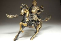 Wholesale antique bronze horse statues resale online - Rare Fine Chinese Bronze Statue Guan Gong Horse NR