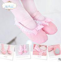 Wholesale Lace Binding - Children ballet dance shoes girls Bows lace falbala canvas shoes kids cross bind elastic kids soft bottom PAWS shoes Performance shoe R0936