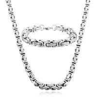 pulsera bizantina de acero inoxidable. al por mayor-8mm de ancho de alta calidad hombres de acero inoxidable collar de la pulsera conjunto de color de plata bizantino caja de joyería de la cadena NB889