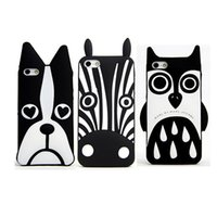 Wholesale Owl Pattern Case - Cute 3D Cartoon Back Cover Heart Dog Owl Zebra Pattern For Iphone 7 6 6s plus Samsung S7 Soft Silicone Cover OPPBAG