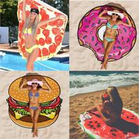 Wholesale Hamburger Wrap - Pizza Hamburger Watermelon Beach Shawls Women's Swimwear Pashmina Shawl Scarves Sunscreen Round Beach Towels Cover-ups Wrap Chiffon
