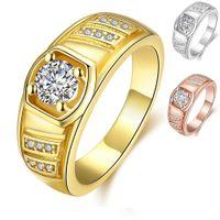 14k gold ring gelben stein großhandel-24 Karat Gelbgold Rose Gold Platin Überzogene Männer Ring mit Seitensteine Cut CZ Zirkonia Party Ring Männer Modeschmuck Beste Freund Geschenk